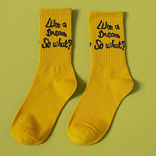 RTESBGH Novelty Sokken, Geel Basis Letter Patroonnieuwigheid Sokken Herfst Letters Katoen Mode Gelukkig Student Verticale Sport Elastische Deodorant Crew Sokken (3Ps)