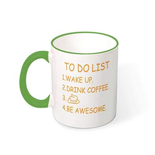 Taza de café con lista de tareas, cerámica de alta calidad, divertida taza – Poop Humor Friends Green 330 ml