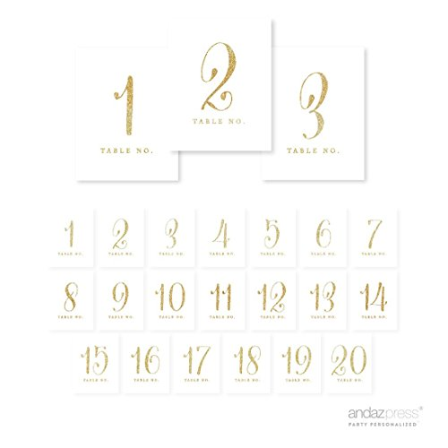Andaz Press Table Numbers 1-20 on Perforated Paper, Gold Glitter Print, 4.25 x 5.5-inch Cardstock Sign, 1-Set, for Weddings, Birthday Parties, Catering, Seating Arrangement