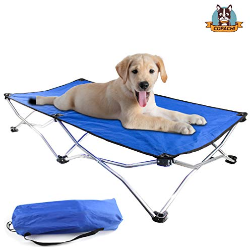 COPACHI Elevated Dog Bed Cot, Pet Dog Cot with Steel Frame for Dogs and Cats,Load Bearing About 110lbs/40KG,Portable Raised Pet Cot for Travel, Camping Home. Foldable Frame, Blue
