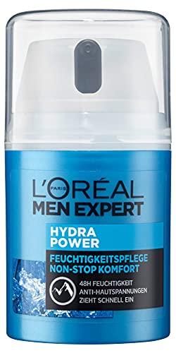 L'Oréal Paris Men Expert Gesichtspflege für Männer, Gesichtscreme mit Hyaluronsäure, Hydra Power Feuchtigkeitspflege Non-Stop Komfort, 1 x 50 ml