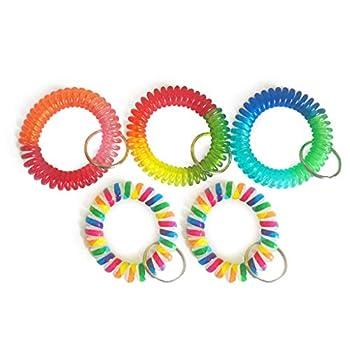 Wrist Coil Wrist Keychain Colorful Stretch Key Chain for Gym Pool ID Badge 5pcs