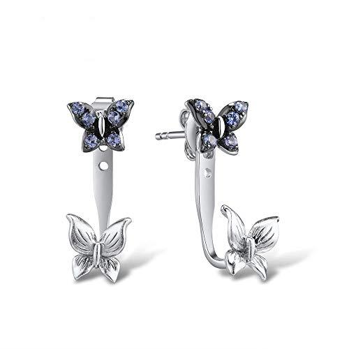AdronQ Pendientes De Plata 925 para Mujer Elegantes Pendientes De Mariposa Azul Blanco Joyería De Moda