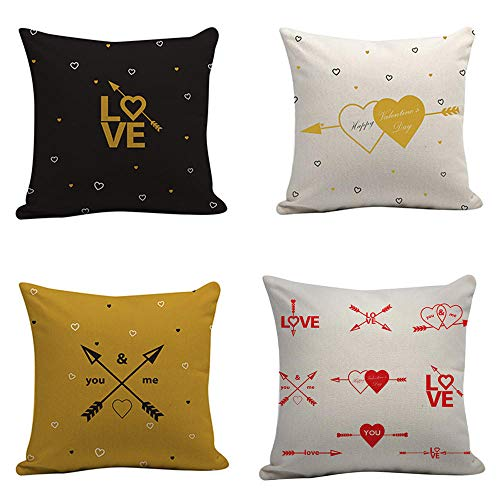 Cushion Cover Cotton Linen Pillow Covers Home Decor Flamingo Cushion Cover Home Decor For Sofa Car Bedroom 4 Pcs 45X45Cm (With Invisible Zipper)