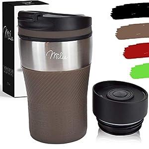 Milu Termo Taza 210ml - Vaso Termico de Viaje - Café para Llevar - Taza de Viaje - Taza de acero inoxidable para beber - con aislamiento de doble pared (Marrón, 210ml)