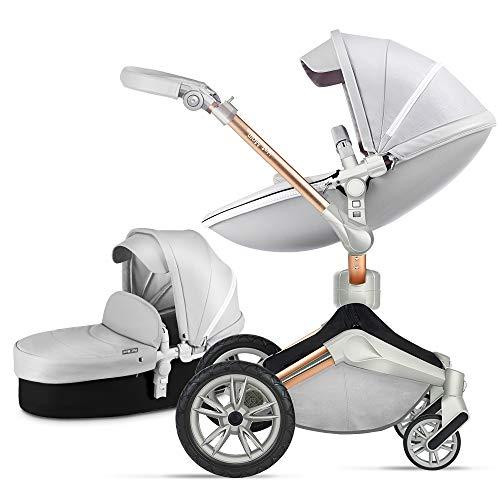 Hot Mom Kinderwagen 360-Grad-Drehfunktion, Babywagen, PU Leder, faltbar, tragbar, stoßfest, Reisesystem, 2020
