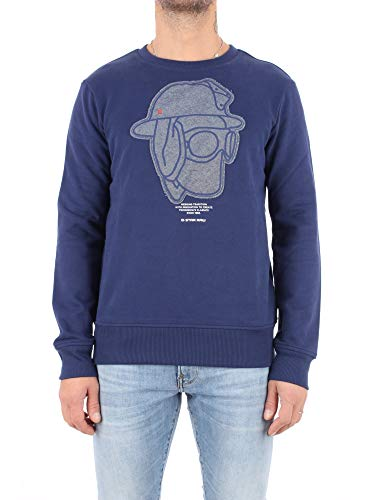 G-STAR RAW Graphic 10 Core Round Neck Sweat-Shirt, Bleu (Imperial Blue 1305), X-Small Homme