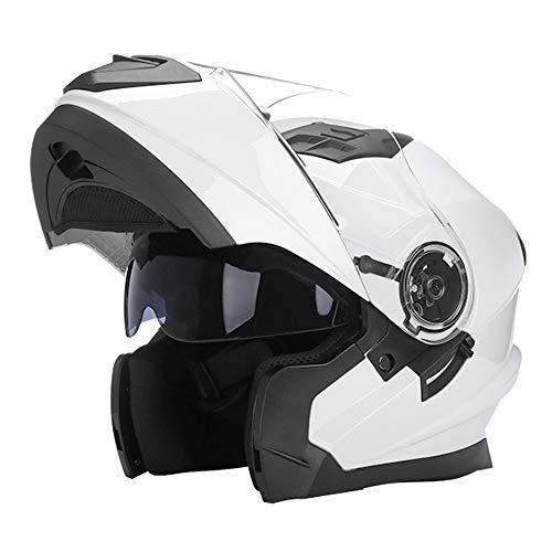 Woljay Klapphelm Integralhelm Rennen Offroad-Helm Motorradhelm (XXL, Glas Weiß)