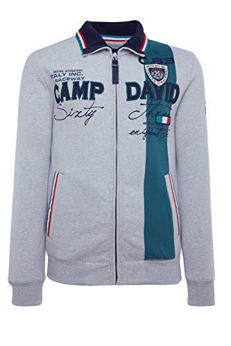 Camp David Herren Sweatjacke mit Farbstreifen und Artwork, Grey Melange, XL