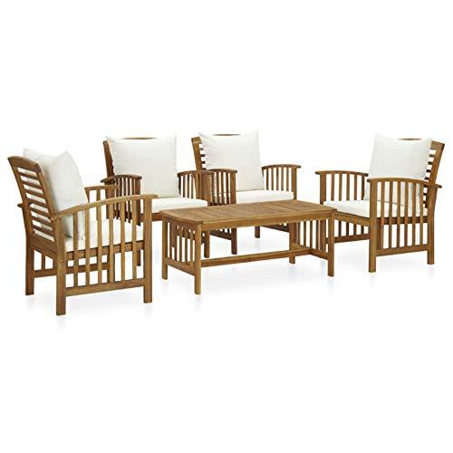 Ksodgun Juego Muebles de jardín y Cojines 5 Piezas Madera Muebles Exteriores Conjunto de terraza Maciza Acacia