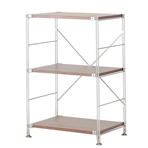 JCNFA rek, keukenrekken, accentmeubilair in houtlook, met metalen frame voor thuiskantoor, robuust en stabiel, 2 planken (22.83 * 16.14 * 32.67in walnoot