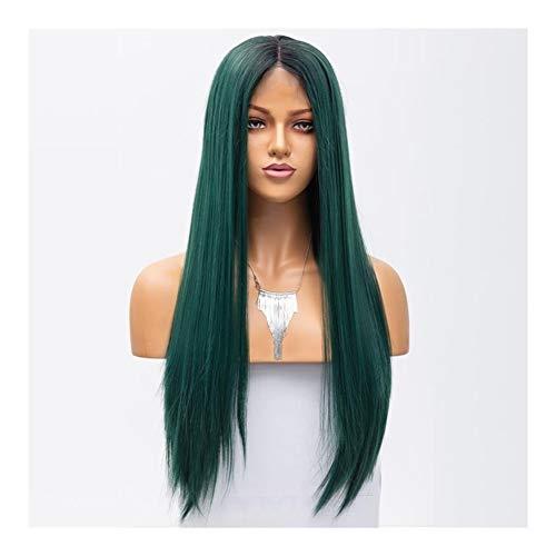 LUZIWEN Mode perruque longue ligne droite perruque verte femme fil moitié crochet à haute température peut perm perruque (Color : 14 inches)