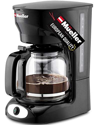 Mueller 12-Cup Drip Coffee Maker, Auto Keep Warm Function, Smart Anti-Drip System, with Durable Permanent Filter and Borosilicate Glass Carafe, Clear Water Level Window Coffee Machine
