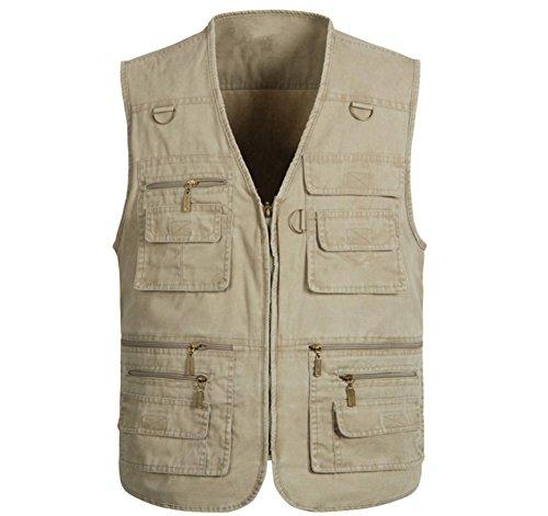 Mens Pockets Jacket Outdoors Travels Sports Vest, Khaki, US XXL/Asia 5XL