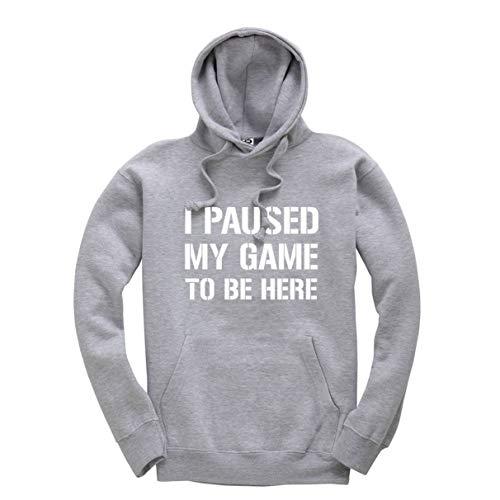 """Sudadera con capucha para juegos con texto """"I Paused My Game to Be Here"""" Gris gris 9-11 Años"""
