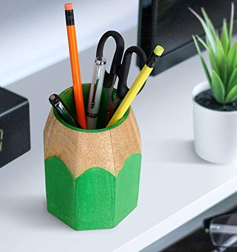 Wood Pen Stand - Green Color Pencil Shaped Pencil Stand - Pen Display Stand - Pen Pencil Holder Stand Organizer for Desk Kids Study Table - Pen Stand for Desk - Tabletop Decor Desk Organizer