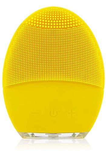 Yunchi - Spazzola per viso, in silicone, di qualità alimentare, elettrica, ricaricabile, impermeabile, IPX7, esfoliante, pulizia noiosa, macchina del viso, portatile, colore: giallo