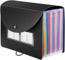 Sooez 24 Pockets Expanding File Folder with Blank Labels, According File Organizer with Expandable Cover, Desktop Accordion Folders Letter A4 Paper Document Storage Organizer, Black
