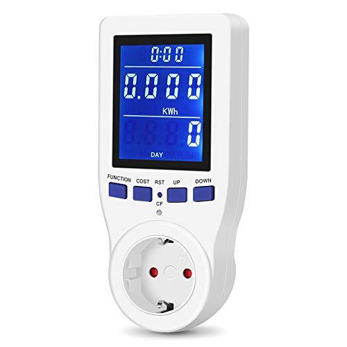 Energiekostenmessgerät Strommessgerät Stromverbrauchszähle mit LCD Bildschirm und Überlastsicherung,8 Modus Leistungsmessgerät Stromzähler für CO₂Emission Volt kWh Steckdose Elektrizitäts-Analysator