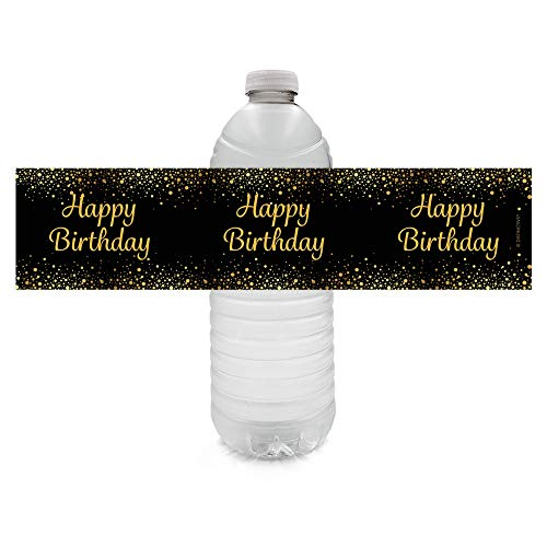 Black and Gold Happy Birthday Party Water Bottle Labels - 24 Stickers