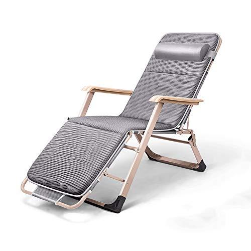 Qing MEI Verstellbarer Klappstuhl Für Eine Mittagspause Tragbares 4-Fach-Bett Für Den Haushalt Freizeitstuhl Strandkorb Klappbarer Lehnensessel 4D Atmungsaktives Wattepad (Farbe : Gray)