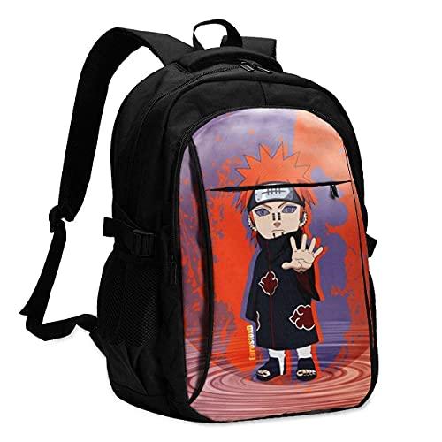 Anime Naruto, zaino da viaggio per computer portatile, con porta di ricarica USB, interfaccia per cuffie e college, per donne, uomini, ragazzi, viaggi d'affari, antifurto, zaino 4, D, L