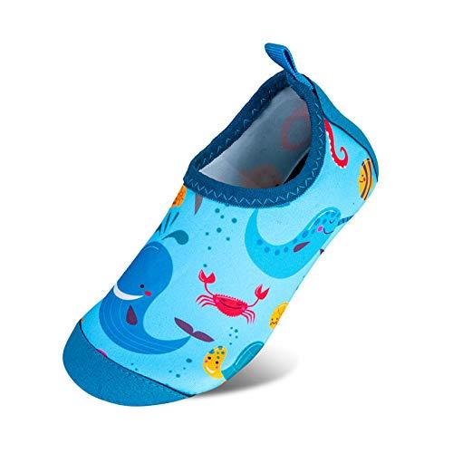 Escarpines para niños, Zapatos de baño, Zapatos de Playa, Zapatos de natación para niño, Zapatos Descalzos, Antideslizantes Zapatos de Surf Zapatos de Deporte para niños Piscinas Color Talla 26/27 EU