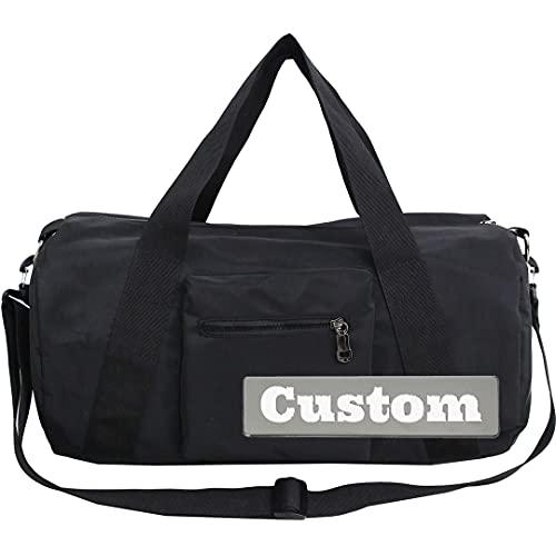 Bolsa de Viaje en Nombre Personalizado Hombres Duffel Travel Extra Grande Nylon Duffle Bag Impermeable Fin de Semana Duffel Mujeres Bolso de Hombro de Fin de Semana (Color : Black, Size : One Size)