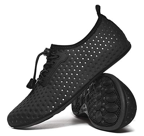 CanLeg Water Shoes Aqua Shoes Swim Shoes Beach Sports Quick Dry Barefoot for Boating Fishing Diving Surfing with Drainage Driving Yoga Upstream for Womens Mens(CL196005Black45)