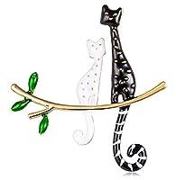 Aimforgod ハロウィンブローチ1ピースキラキラクリスマスブローチかわいい猫ラインストーンピン女性の女の子服帽子バッグかわいいクリエイティブ新しいハロウィンクリスマスジュエリー
