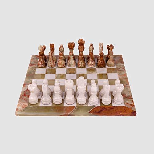Rikmani Schach Set Onyx Exklusives Schachspiel aus Stein Sardonyx Schachspiel (30cm x 30cm)