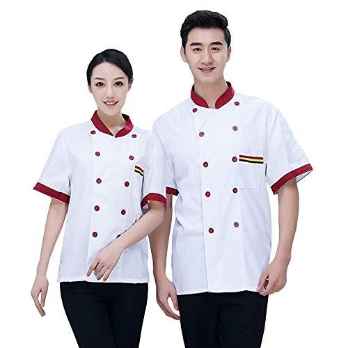 XSMG Unisex Herren Kochjacke Kurzarm Hotel Kochkleidung Uniform Berufsbekleidung mit knöpfen,03,XXXXL