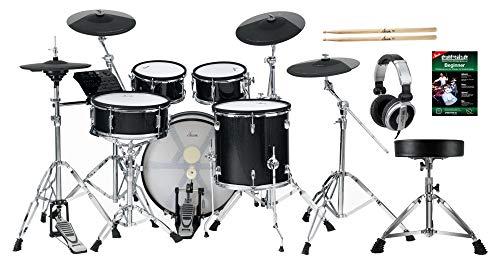 XDrum DD-670 Mesh E-Drum Kit - elektronisches Schlagzeug mit echter HiHat - Pads aus Holz mit Mesh Heads - 720 Sounds - inklusive Hardware, Hocker, Kopfhörer und Sticks - Black Sparkle