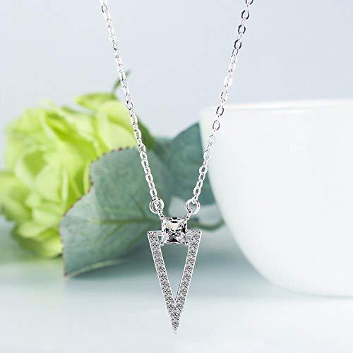FJCY Collar de circonita Triangular geométrico Plateado Collar de Cadena Corta para Mujer