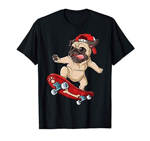 Pug Skateboard T shirt Dog Puppy Funny Skater Skateboarding T-Shirt