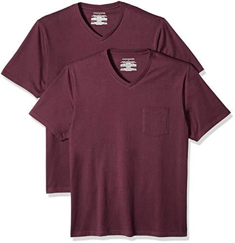 Amazon Essentials - Pack de 2 camisetas de corte holgado con cuello en V y bolsillo en el pecho para hombre, Rojo (Burgundy Bur), US XS (EU XS)