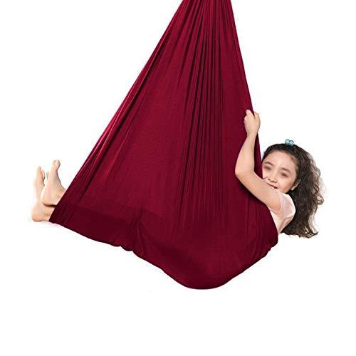 LHHL Hamaca De Yoga para Acurrucarse Columpio Elástico para Niños Y Niñas para Interiores Y Exteriores (Color : Wine Red, Size : 150 * 280CM/59 * 110in)