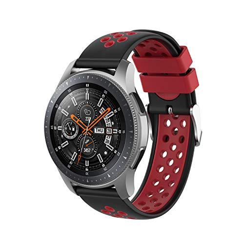 INF Pulsera Compatible con Samsung Gear S3 Frontier/Classic, Pulsera de Reloj Ajustable 147-240 mm, Negro/Rojo