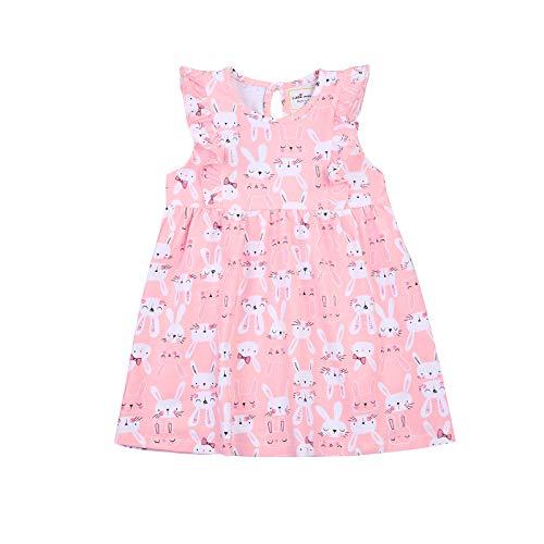 LUCSUN Vestido de niña para niños con diseño de conejo de dibujos animados, ropa de Pascua, ropa de fiesta con estampado de una línea de trajes de 1-7T
