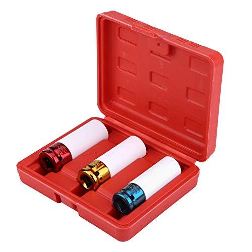 Fydun 3 Piezas Juego de Llaves de Vaso de Impacto Profundo de Pared Delgada, 1/2' 17 19 21 mm CR-V Kit de Herramientas de reparación de vehículos automóviles con Caja