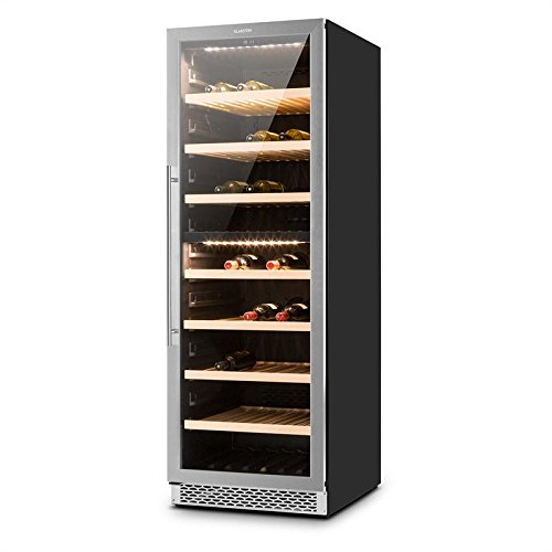 Klarstein Gran Reserva - Wine Cooler, Range of 5 to 20 ° C, Stainless Steel, 2 Cooling Zones, LED, 379 L, Double Insulated Glass Door, 166 Bottles, Control Touch, 7 Shelves, Black-Silver