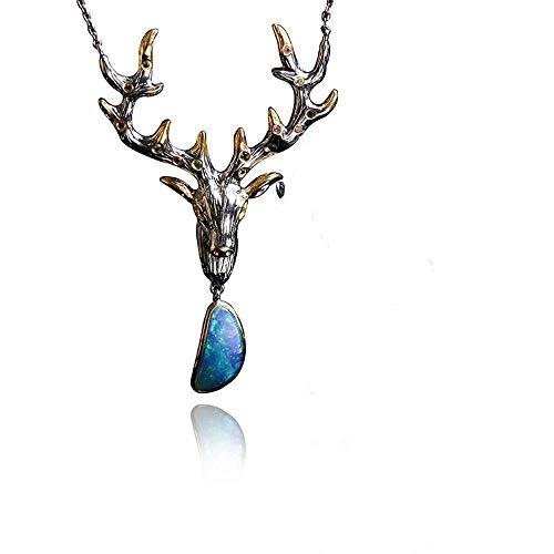 Lnyy Persönlichkeit Schmuck Design Silber Eingelegt Opal Tierform Damen Halskette