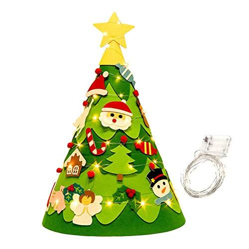 Árbol de Navidad de Fieltro 3D DIY con 18 Piezas Adornos Colgantes Cadena de Luces LED de 16 pies para niños Decoraciones navideñas para el hogar