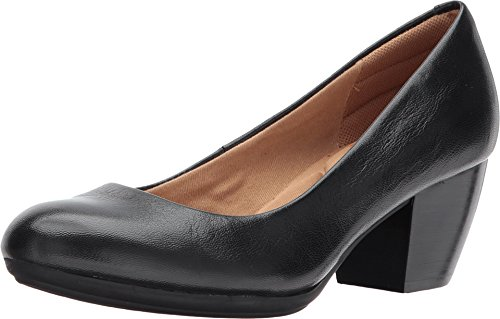 Comfortiva Women's Amora Black Leatherpumps-Shoes 9 B(M) US