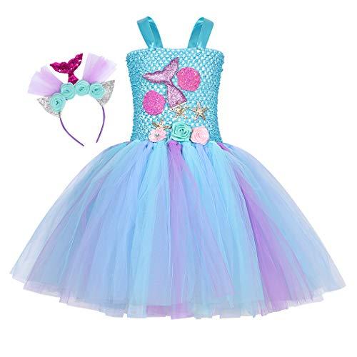 Jurebecia Disfraz Sirenita Princesa Sirena Fiesta de Disfraces Pequeña Niñas Vestido de Tutú Outfit con Accesorio Halloween Azul 2-3 Años