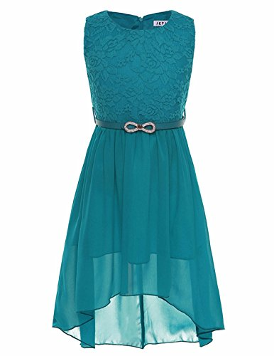 FEESHOW Kids Big Girls Lace Flower High Low Chiffon Bridesmaid Dress Wedding Dance Party (8, Teal)