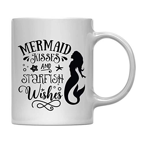 Taza de café, regalo de besos de sirena y deseos de estrella de mar, 1 paquete, taza de limonada de Navidad de cumpleaños al aire libre con caja de regalo