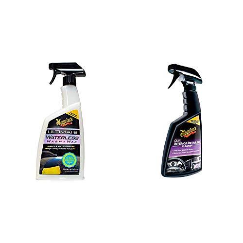 Meguiar\'s G3626EU Ultimate Waterless Wash & Wax Trockenwäsche, 768ml & G13616EU Quik Detailer Interior Innenraumreiniger, 473 ml
