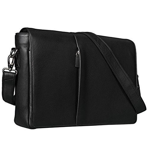 STILORD 'Joel' Messenger Bag Leder Herren Damen Umhängetasche Aktentasche Uni Schultertasche Büro Office Vintage echtes Leder, Farbe:schwarz