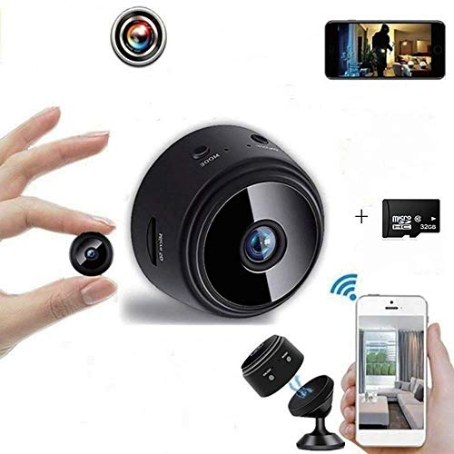 WiFi Camera Mini Wireless 1080P HD Camera with 32G SD Card, Portable Home Nanny Camera, The Best Home Security Camera, with Safe Motion Detection Function, Suitable for Family-Run Company Cars, etc.